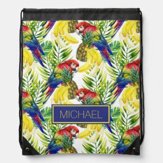 Parrots And Tropical Fruit | Add Your Name Drawstring Bag