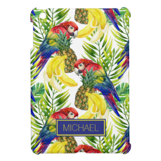 Parrots And Tropical Fruit   Add Your Name iPad Mini Case
