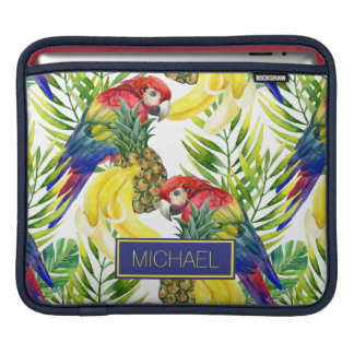 Parrots And Tropical Fruit | Add Your Name iPad Sleeve