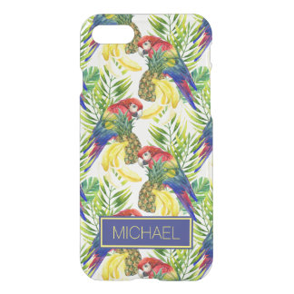 Parrots And Tropical Fruit | Add Your Name iPhone 8/7 Case