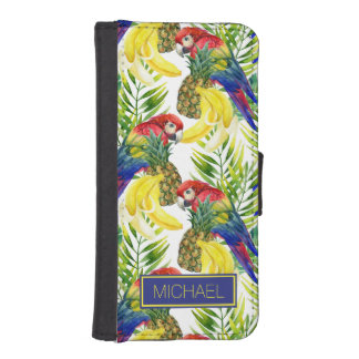 Parrots And Tropical Fruit | Add Your Name iPhone SE/5/5s Wallet Case