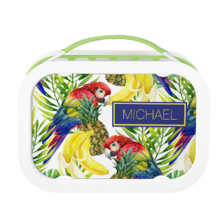 Parrots And Tropical Fruit | Add Your Name Lunch Box