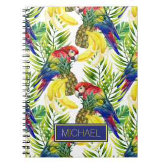 Parrots And Tropical Fruit | Add Your Name Notebook