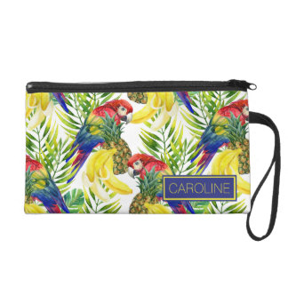 Parrots And Tropical Fruit | Add Your Name Wristlet