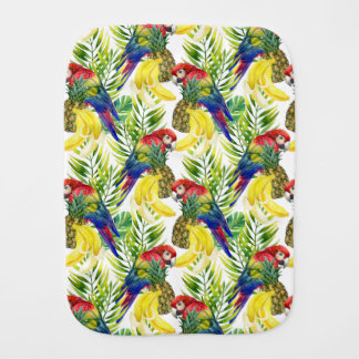 Parrots And Tropical Fruit Baby Burp Cloths