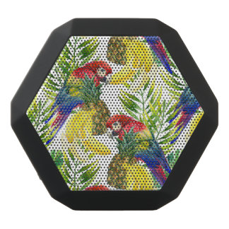 Parrots And Tropical Fruit Black Bluetooth Speaker