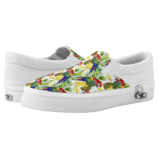 Parrots And Tropical Fruit Printed Shoes