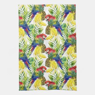 Parrots And Tropical Fruit Tea Towel