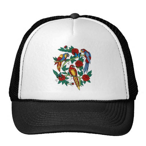 PARROTS BUTTERFLIES AND ROSES TATTOO PRINT HATS