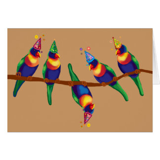 Parrots Christmas party Greeting Card