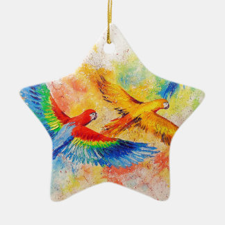 Parrots in flight christmas ornament