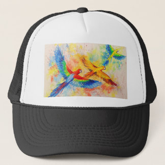 Parrots in flight trucker hat