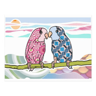 Parrots In Love Postcard