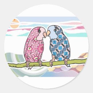 Parrots In Love Round Sticker