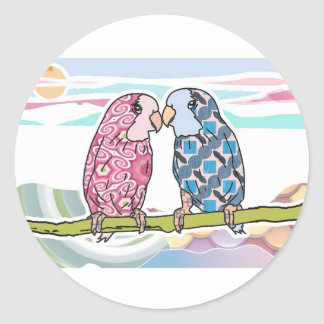 Parrots In Love Classic Round Sticker