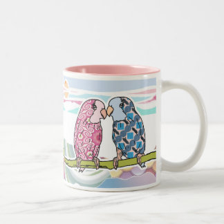 Parrots In Love Two-Tone Mug