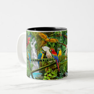 PARROTS IN PARADISE Two-Tone COFFEE MUG