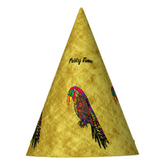 Parrots in yellow red green blue gold foil party hat