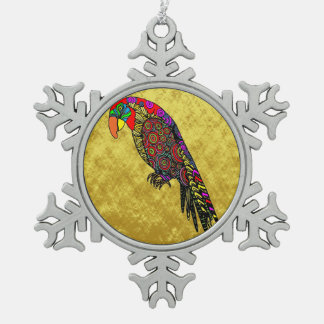Parrots in yellow red green blue gold foil snowflake pewter christmas ornament