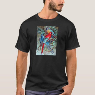 Parrots macaw wild birds colorful painting T-Shirt