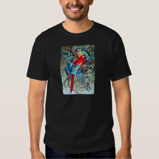 Parrots macaw wild birds colorful painting tee shirt