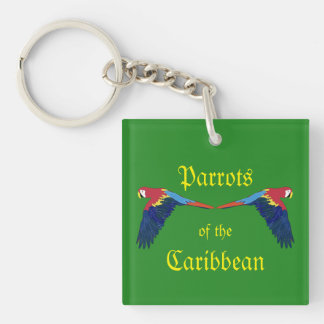 Parrots of the Caribbean Green Double-Sided Square Acrylic Key Ring