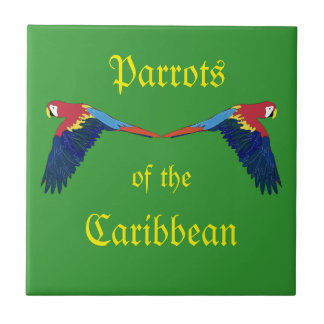 Parrots of the Caribbean Green Tile