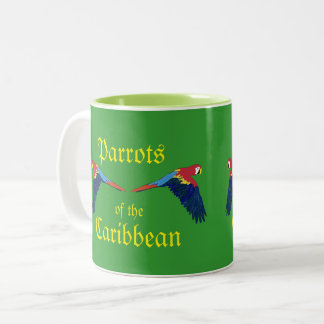 Parrots of the Caribbean Green Two-Tone Coffee Mug