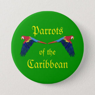 Parrots of the Caribbean on Greeen 7.5 Cm Round Badge