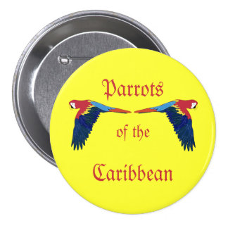 Parrots of the Caribbean on Yellow 7.5 Cm Round Badge