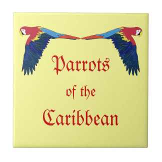 Parrots of the Caribbean on Yellow Small Square Tile