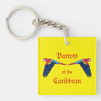Parrots of the Caribbean Yellow Key Ring
