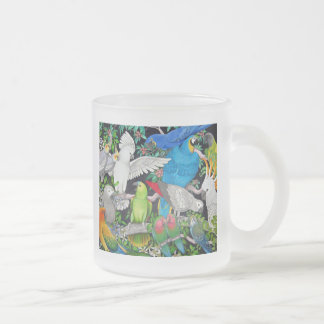 Parrots of the World Frosted Glass Mug