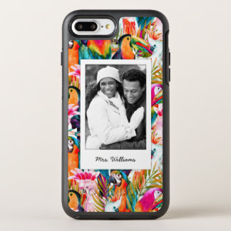 Parrots & Palm Leaves | Add Your Photo & Name OtterBox Symmetry iPhone 7 Plus Case