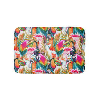 Parrots & Palm Leaves Bath Mat