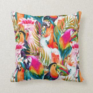 Parrots & Palm Leaves Cushion