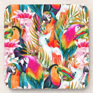 Parrots & Palm Leaves Drink Coaster
