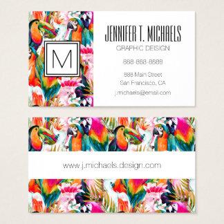 Parrots & Palm Leaves | Monogram Business Card