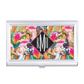 Parrots & Palm Leaves | Monogram Business Card Holder