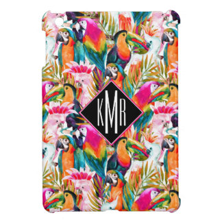 Parrots & Palm Leaves | Monogram Cover For The iPad Mini