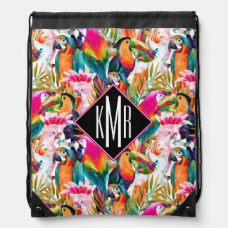 Parrots & Palm Leaves | Monogram Drawstring Bag