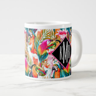 Parrots & Palm Leaves | Monogram Large Coffee Mug