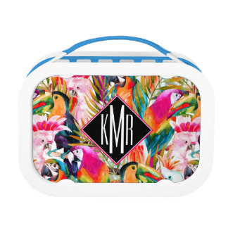 Parrots & Palm Leaves | Monogram Lunch Box