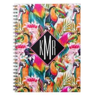 Parrots & Palm Leaves   Monogram Notebooks