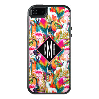 Parrots & Palm Leaves | Monogram OtterBox iPhone 5/5s/SE Case