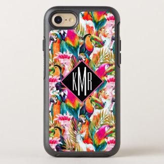 Parrots & Palm Leaves | Monogram OtterBox Symmetry iPhone 8/7 Case
