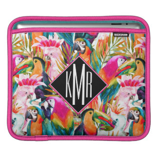 Parrots & Palm Leaves | Monogram Sleeves For iPads