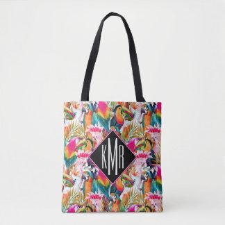 Parrots & Palm Leaves | Monogram Tote Bag
