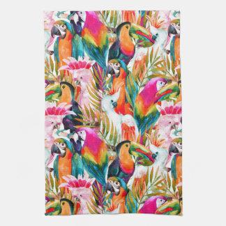 Parrots & Palm Leaves Tea Towel