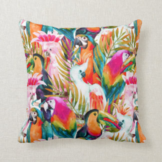 Parrots & Palm Leaves Throw Pillow